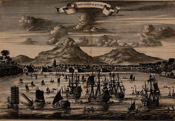 Jepara tahun 1650 dengan Latar Gunung Muria